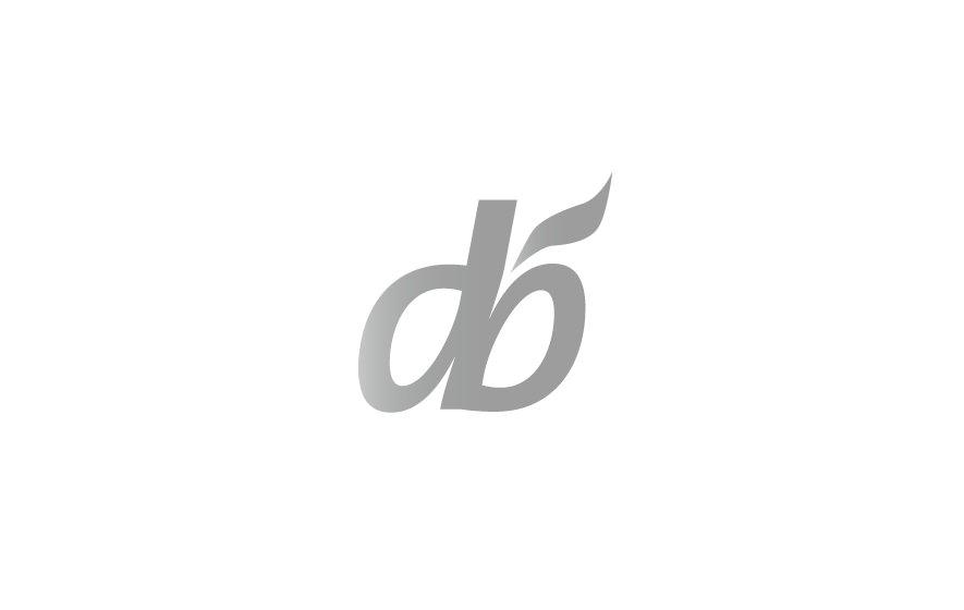 Gestaltung und Werbung: Logotype für den Zahnarzt Doktor Billo, gebildet aus Initialen, die einen stilisierten Apfel bilden